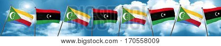 Comoros flag with Libya flag, 3D rendering