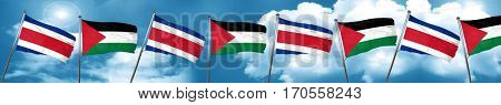 Costa Rica flag with Palestine flag, 3D rendering