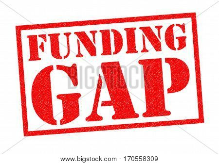 FUNDING GAP red Rubber Stamp over a white background.
