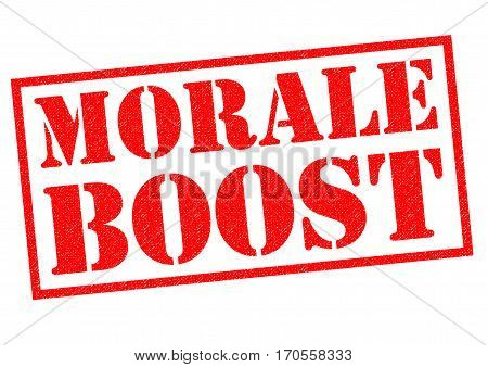 MORALE BOOST red Rubber Stamp over a white background.