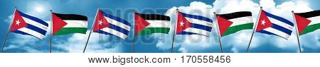 Cuba flag with Palestine flag, 3D rendering