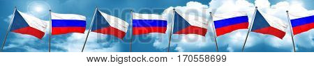 czechoslovakia flag with Russia flag, 3D rendering