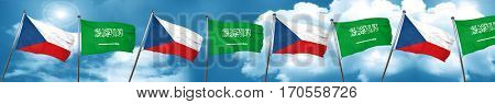czechoslovakia flag with Saudi Arabia flag, 3D rendering