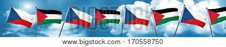 czechoslovakia flag with Palestine flag, 3D rendering