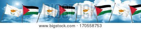 Cyprus flag with Palestine flag, 3D rendering