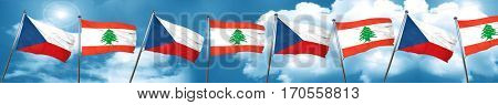 czechoslovakia flag with Lebanon flag, 3D rendering