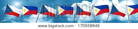 czechoslovakia flag with Philippines flag, 3D rendering
