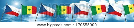 czechoslovakia flag with Senegal flag, 3D rendering