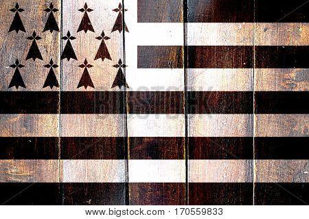 Vintage brittany, bretagne flag on grunge wooden panel