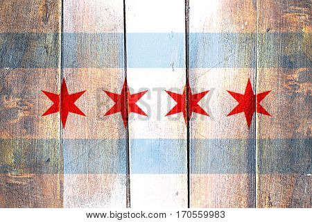 Vintage Chicago flag on grunge wooden panel