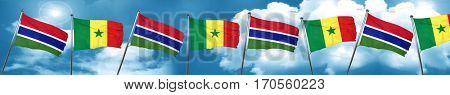 Gambia flag with Senegal flag, 3D rendering