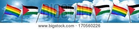 Gay pride flag with Palestine flag, 3D rendering