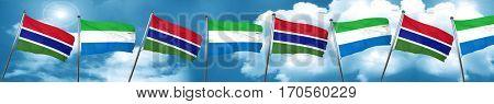 Gambia flag with Sierra Leone flag, 3D rendering