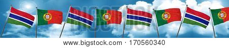 Gambia flag with Portugal flag, 3D rendering