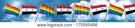 Gay pride flag with Syria flag, 3D rendering