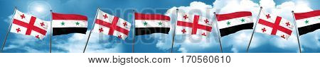 Georgia flag with Syria flag, 3D rendering