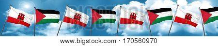 gibraltar flag with Palestine flag, 3D rendering