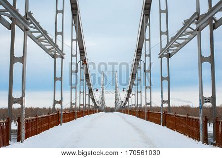 Symmetric bridge structure front view, winter time