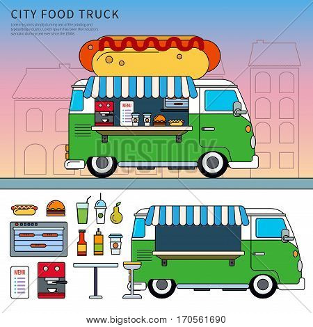 Thin line flat design of food truck in the city on the street. Green retro truck with fast food, truck, junk food, table, beverages, menu and oven isolated on white background
