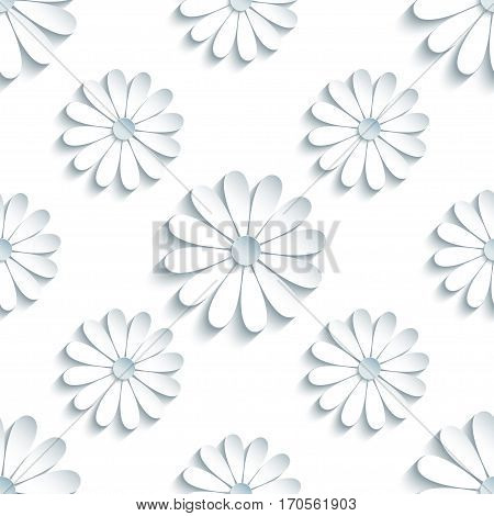 Beautiful modern light background seamless pattern with white 3d flower chamomiles cutting paper. Floral trendy creative wallpaper. Stylish nature backdrop. Vector illustration