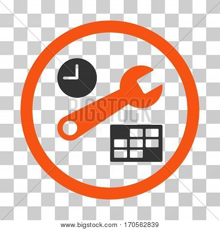 Date And Time Setup rounded icon. Vector bicolor illustration style is a flat iconic symbol inside a circle orange and gray colors transparent background. Designed for web and software interfaces.
