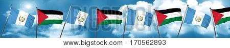 guatemala flag with Palestine flag, 3D rendering