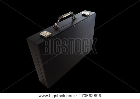 Black briefcase isolated on black background. Business suitcase over black backdrop. Suitcase for business paper.