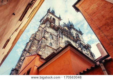 view of the Tyn Church in Prague. Czech Republic