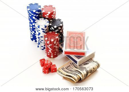 Dice poker chips card money isolated on white background. Games of chance set over white background. Casino games concept.