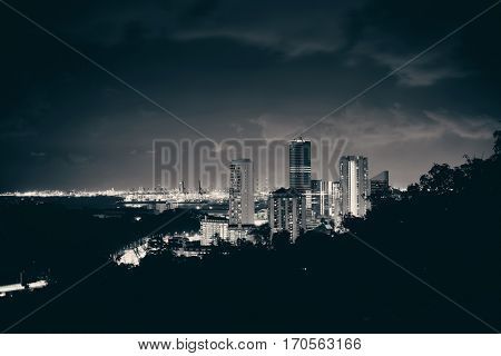 Singapore architecture and urban cityscape night view