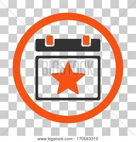 Favourites Day rounded icon. Vector bicolor illustration style is a flat iconic symbol inside a circle orange and gray colors transparent background. Designed for web and software interfaces.