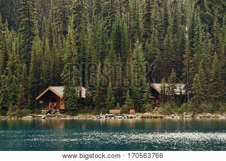 Lake O'hara with waterfront cabin, Yohu National Park, Canada.