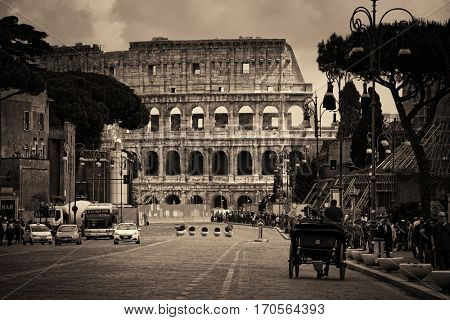 ROME - MAY 12: Street view with Colosseum on May 12, 2016 in Rome, Italy. Rome ranked 14th in the world, 3rd in European Union, and 1st the most popular tourism attraction in Italy.