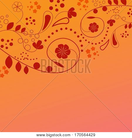 Abstract orange and red floral background with copy space.