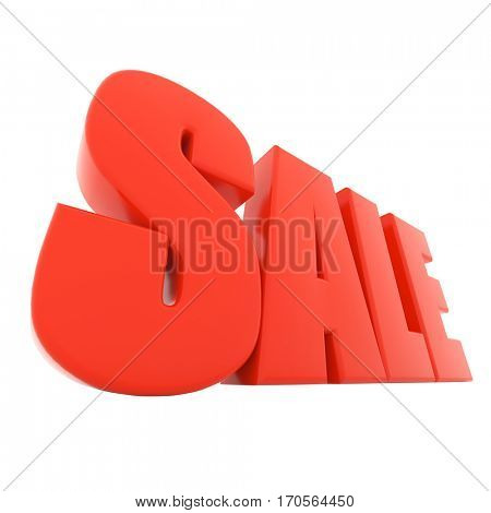 Red sale text isolated on white background 3D rendering.