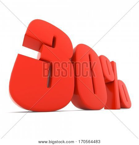 Red 30% discount sign isolated on white background. 3D rendering.