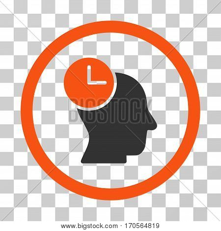 Time Thinking rounded icon. Vector bicolor illustration style is a flat iconic symbol inside a circle orange and gray colors transparent background. Designed for web and software interfaces.