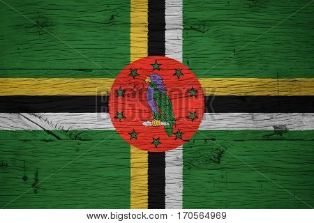 Dominica National Flag Painted Old Oak Wood