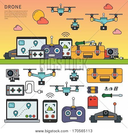 Thin line flat design of different drone devices. Icons for order products in the internet, game console, electric drones, technology devices isolated on white background