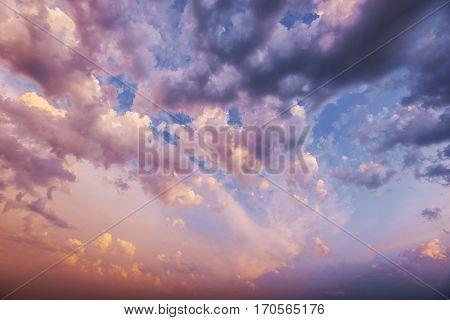 cumulus clouds at sunset. Carpathian Ukraine Europe
