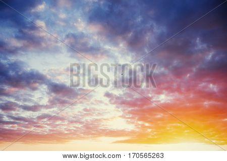 cumulus clouds at sunset. Carpathian Ukraine, Europe