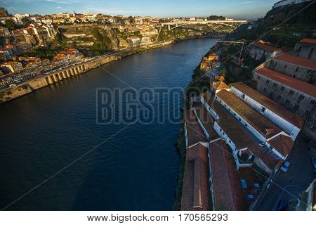 Banks of the Douro river in Vila Nova de Gaia, Portugal.