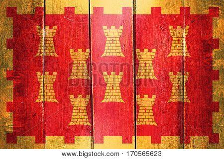 Vintage Greater Manchester flag on grunge wooden panel
