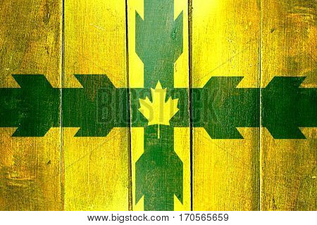 Vintage Gloucester flag on grunge wooden panel
