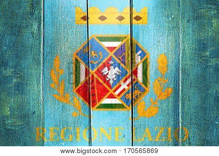 Vintage Lazio flag on grunge wooden panel