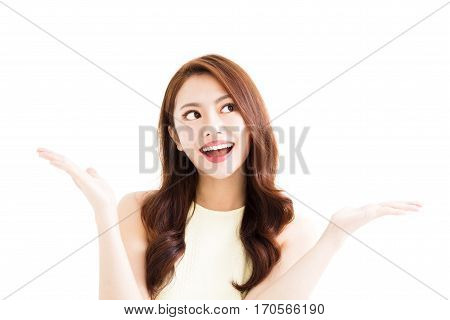 young smiling woman with showing gesture isolated