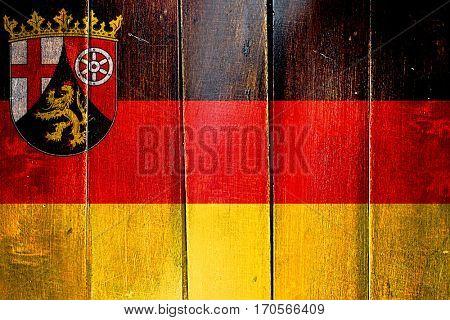 Vintage Rhineland Platinate, Rheinland Pfalz flag on grunge wood