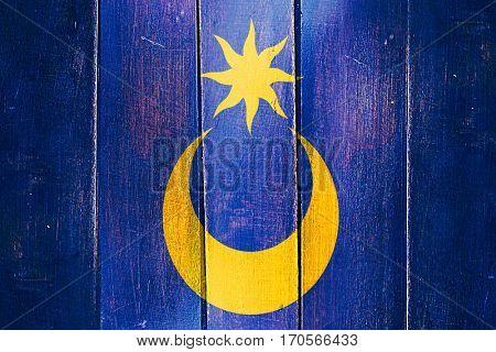 Vintage Portsmouth flag on grunge wooden panel