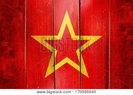 Vintage Red army symbol flag on grunge wooden panel