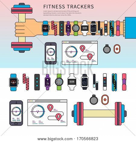Thin line flat design of fitness trackers on the hand. Health monitoring equipment on the hand holding a dumb-bell, sport equipment and technology isolated on white background